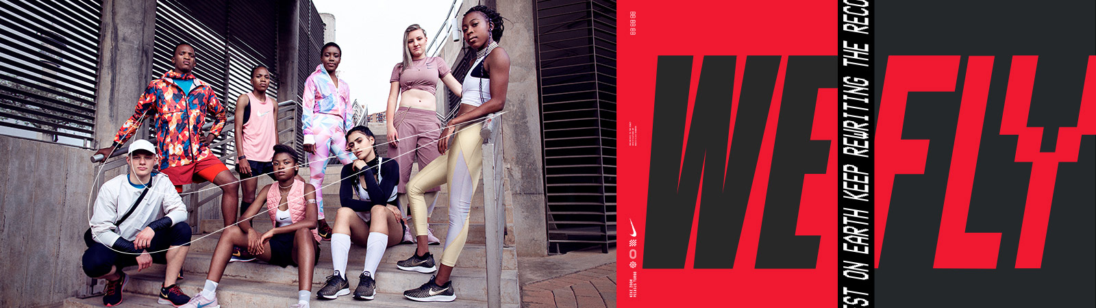 Nike banner with groupshot of athletes on left and Nike WeFly Joburg design on right