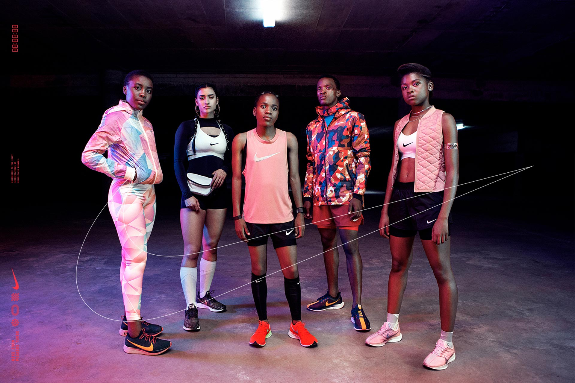 Nike models & athletes groupshot in basement