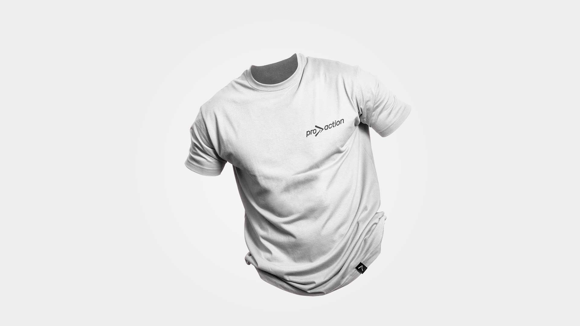 Pro Action white men's t-shirt mock-up with small logo on the left