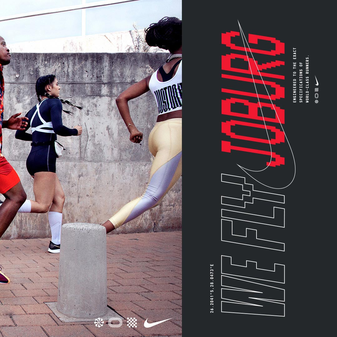 Nike athletes running and WeFly Joburg design on right